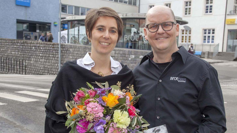 Wilfried und Katja Begle bei der Eröffnung der Brotbar